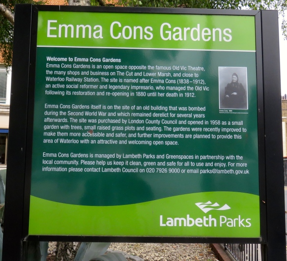 Emma Cons Gardens sign