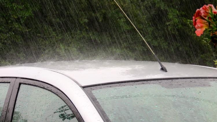 Rain on car roof