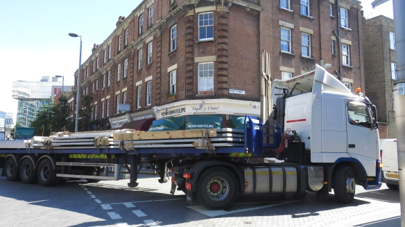 Lorry stuck on corner