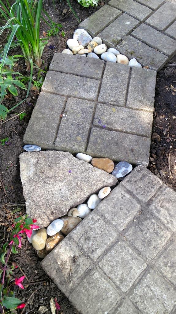 Beach stones in path