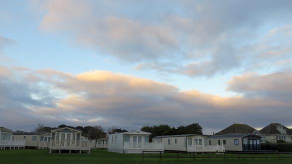 Sky over static caravans