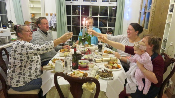 Christmas dinner: Jackie, Mat, Ian, Becky, Tess , Poppy