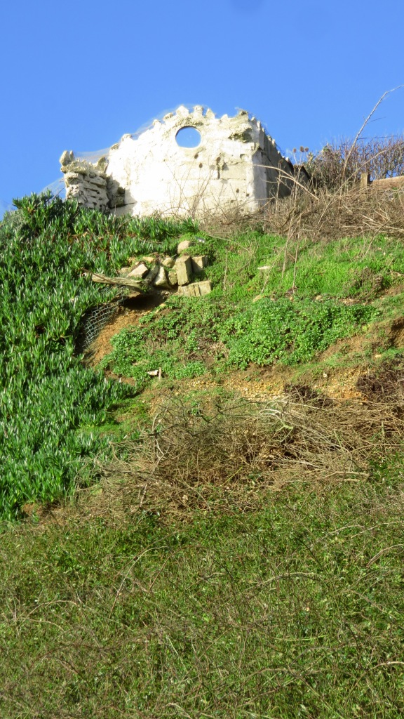 ruin on clifftop with scrub