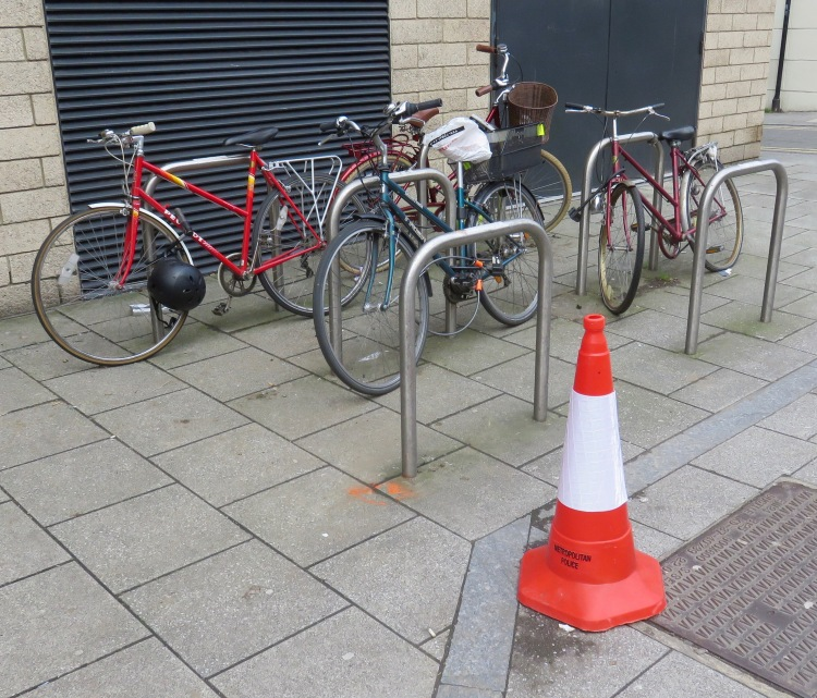 Cycle rack and traffic cone