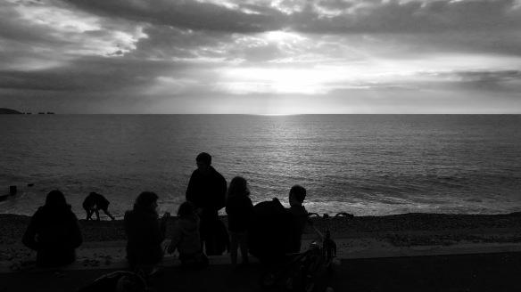 Group overlooking beach