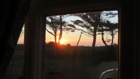 Sunset through lounge window