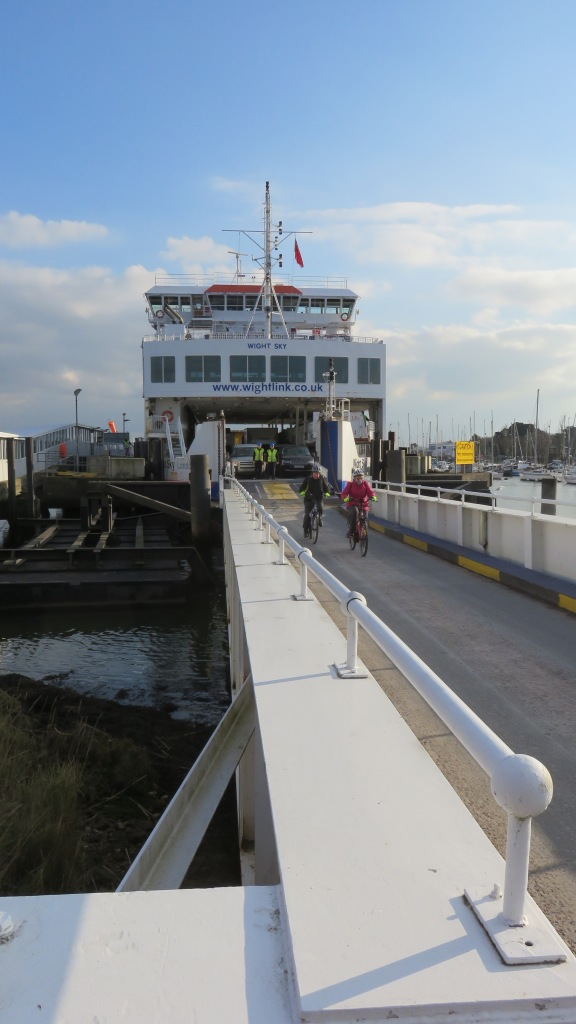 Cyclists disembarking
