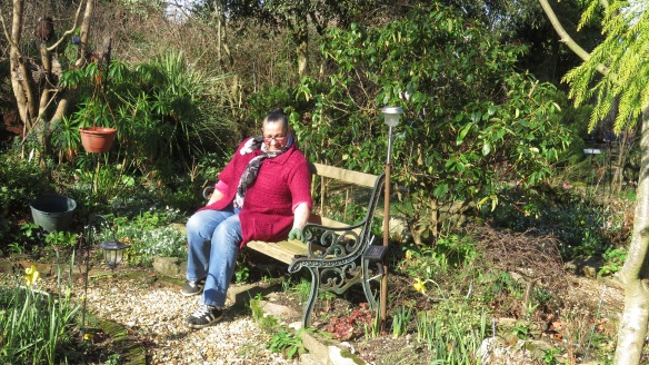 Jackie on Heligan Path bench