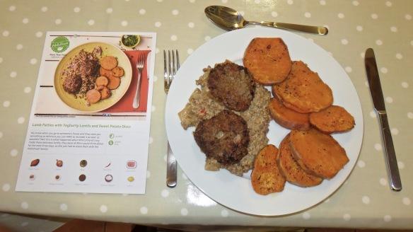 Lamb patties meal