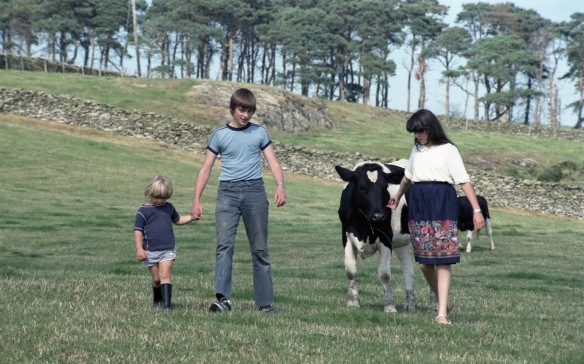 Matthew, Becky, Sam and cow 1983 1