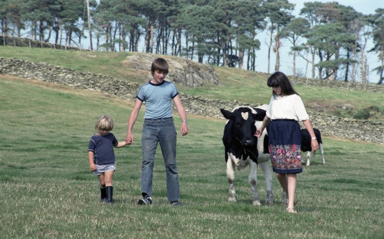 Matthew, Becky, Sam and cow 1983 1
