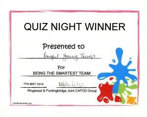 Quiz Night Winner