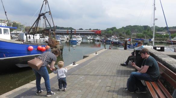 Lymington Quay, boy, and train