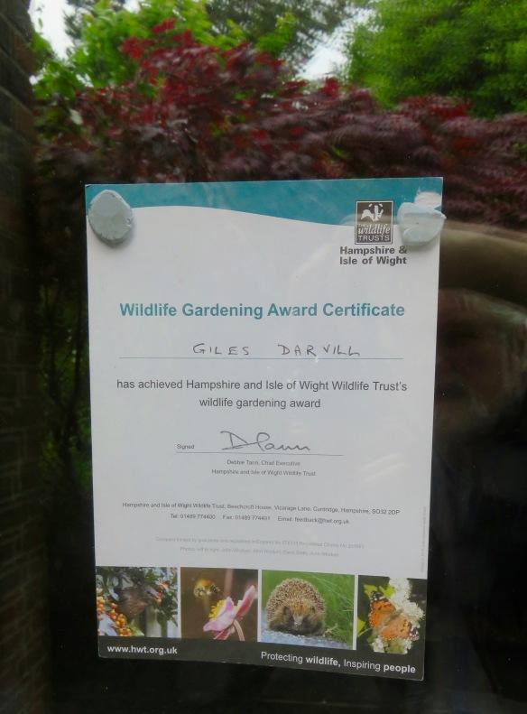 Wildlife Gardening Award Certificate