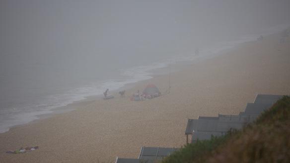 Beach scene in mist