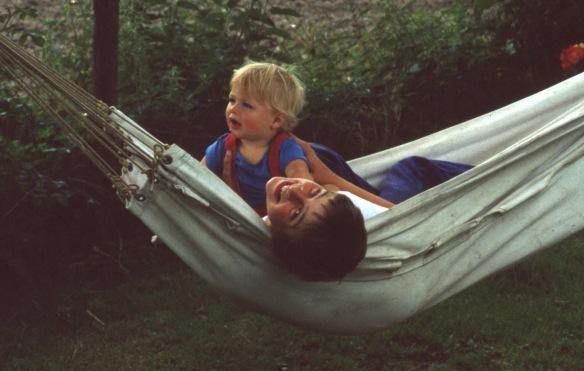 Matthew and Sam in hammock 8.81 4