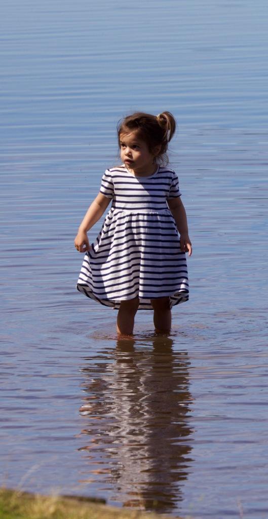 Girl paddling