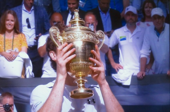 Andy Murray, trophy, and wife