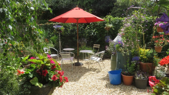 Parasol on gravelled patio
