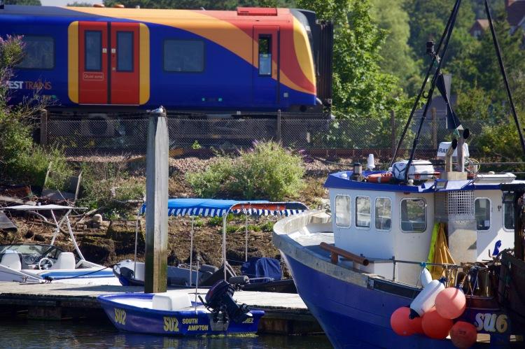 Train and boats