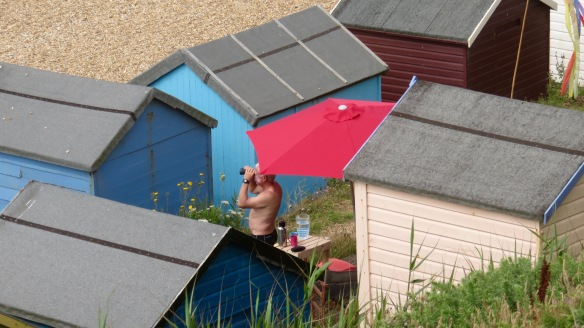 Watcher among beach huts