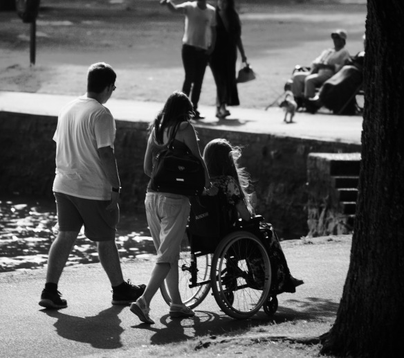 Group with wheelchair