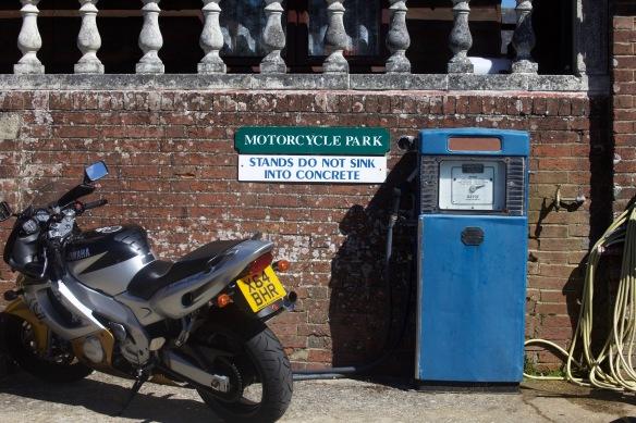 Motorcycle Park and petrol pump
