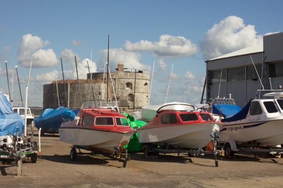 Calshot Castle through boats 2