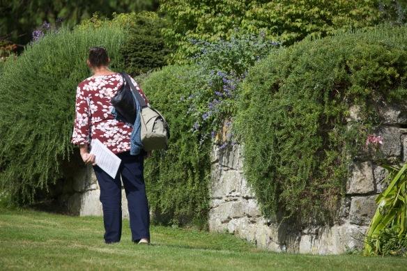 Jackie admiring festooned wall