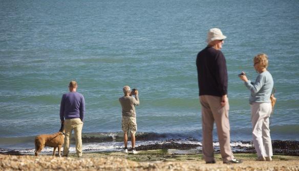 Photographers on beach