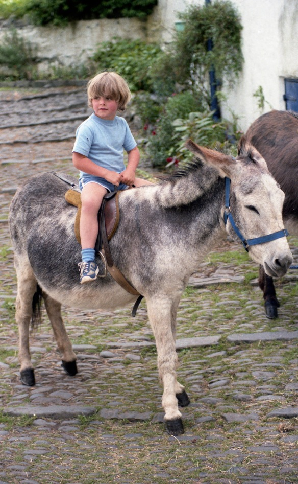 Sam on donkey 1985 2