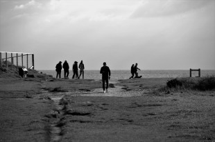 Group in silhouette