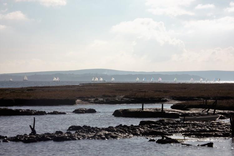 Yachts across Tanners Lane beach