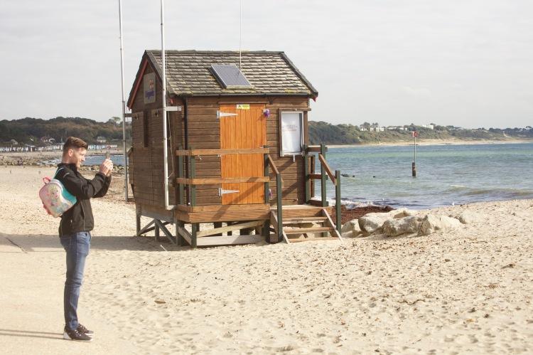 Lifeguard hut and photographer