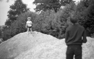 Sam and Mat on grit heap 1985 2