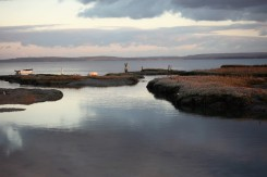 Rock pools and boat