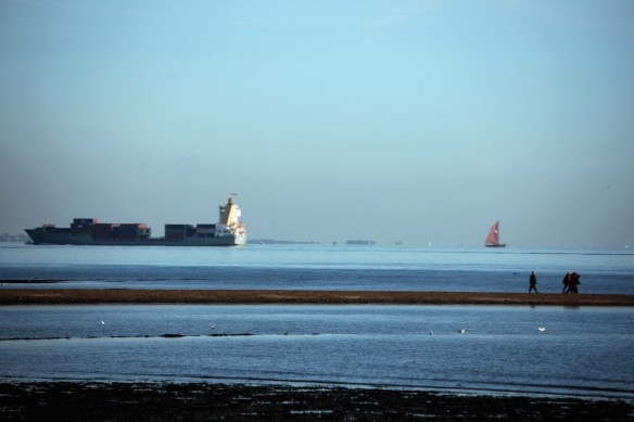 Container vessel, yacht, group on spit