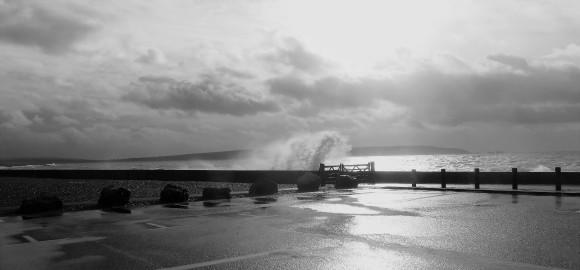 Spray over sea wall