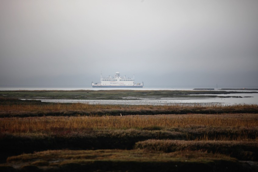Ferry in mist