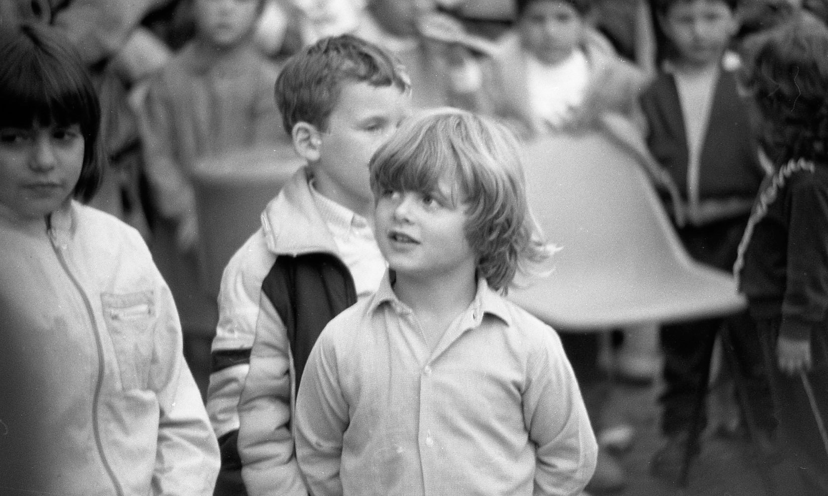Sam in Punch and Judy crowd