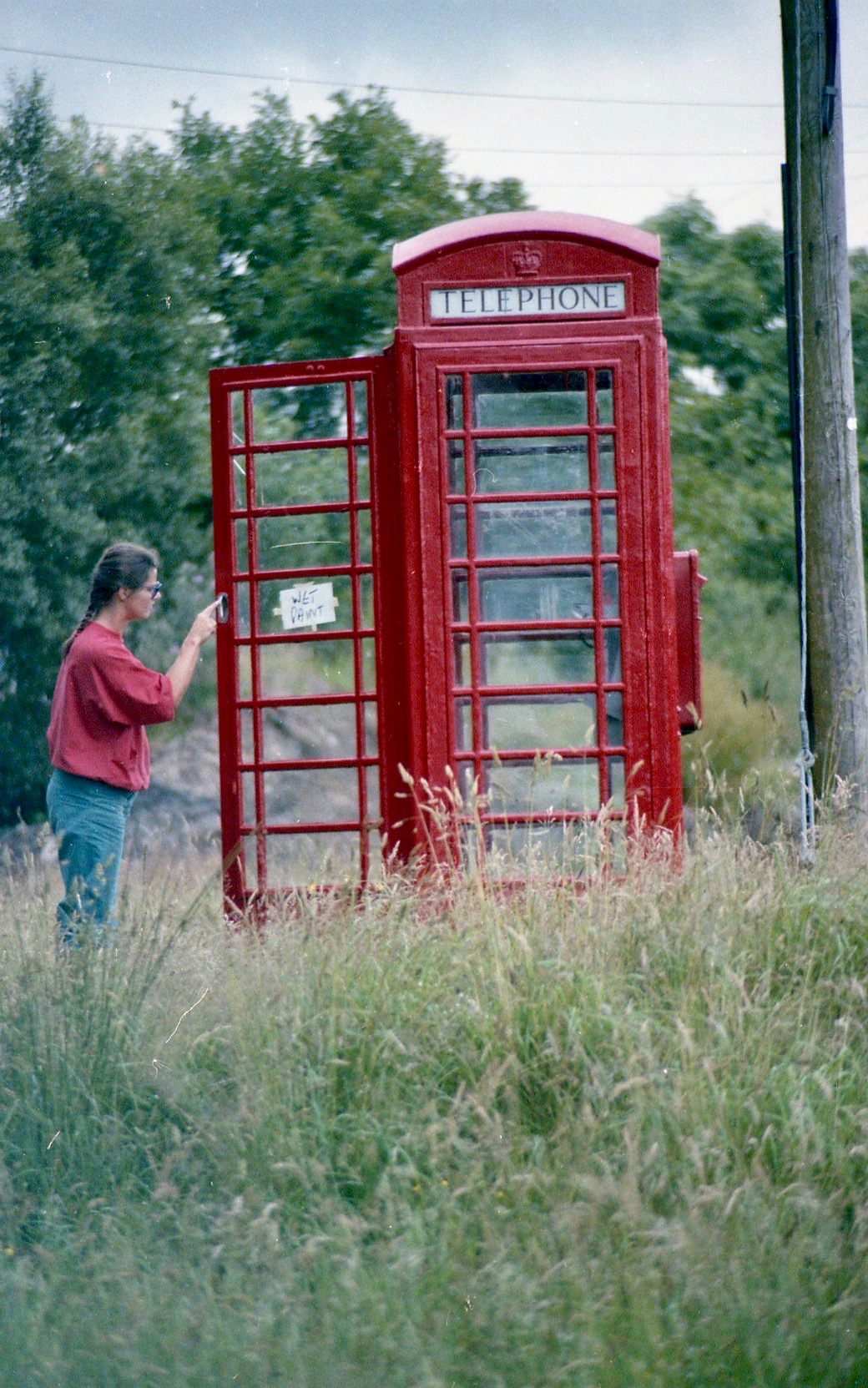 Jessica and phonebox Summer 1986
