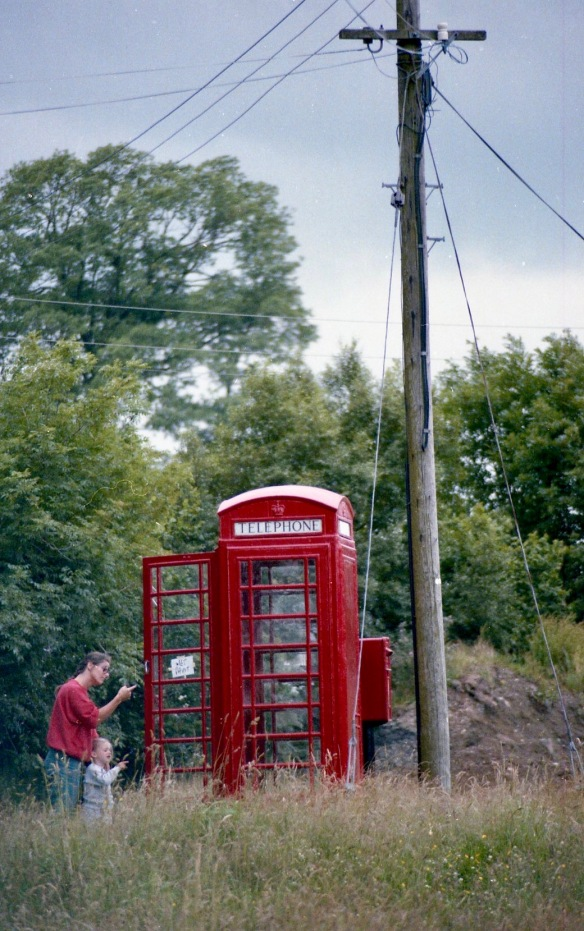 Jessica and Louisa and phonebox Summer 1986
