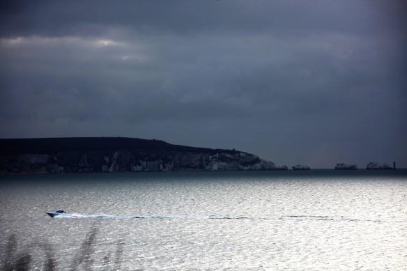 Speedboat passing Isle of Wight