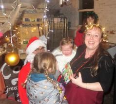 Tess, Poppy, and Santa