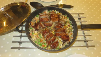 Duck breasts on savoury rice