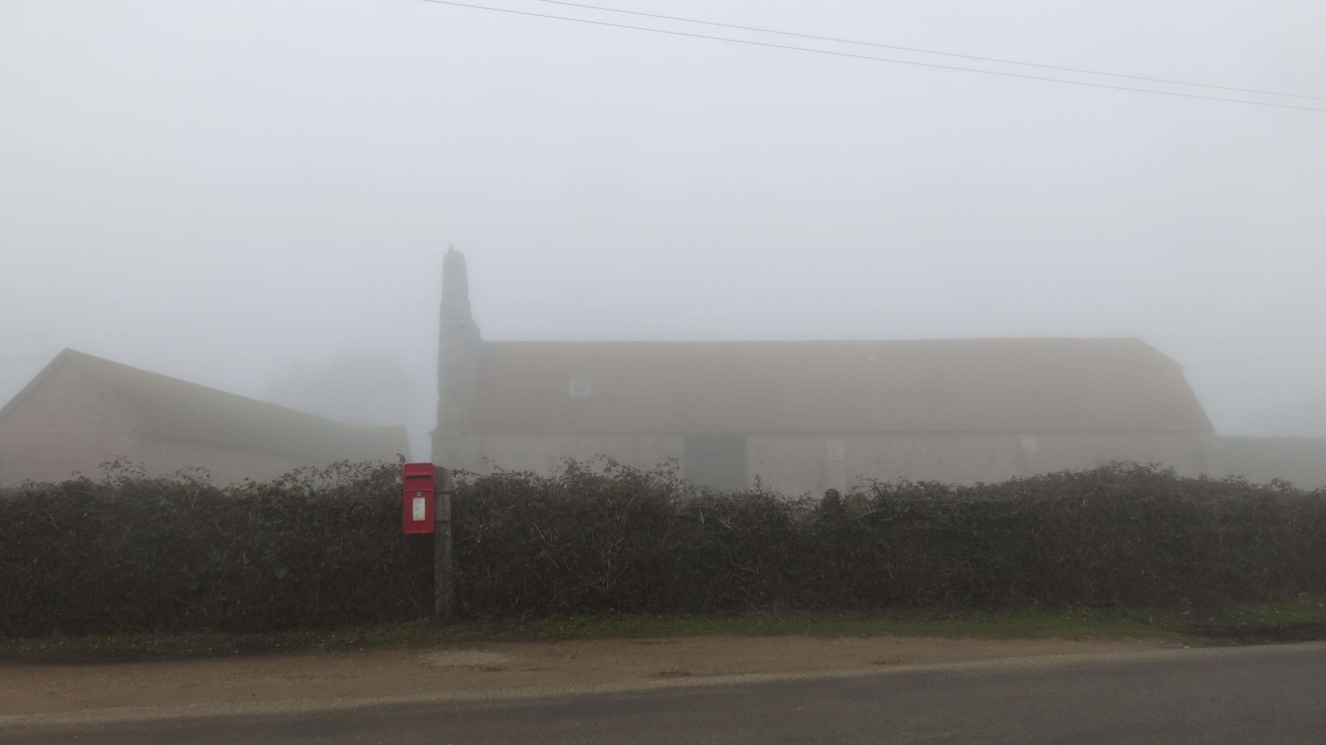 St. Leonard's Grange with post box in fog
