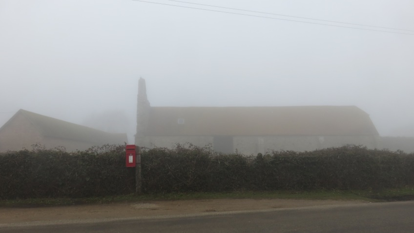 St. Leonard's Grange with post box in fog