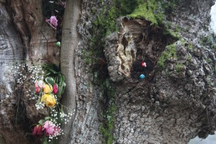 Decorated tree trunk
