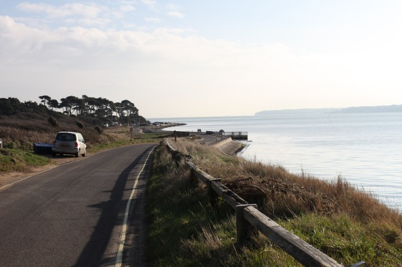 Lepe seafront with walkers 1