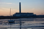 Yacht at low tide, Fawley Power Station
